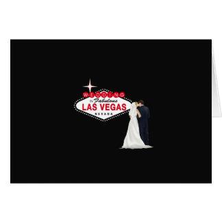 Casandose en la tarjeta fabulosa de Las Vegas, B y