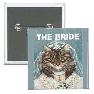 Casandose, la novia, fiesta del bachelorette, chapa cuadrada 5 cm