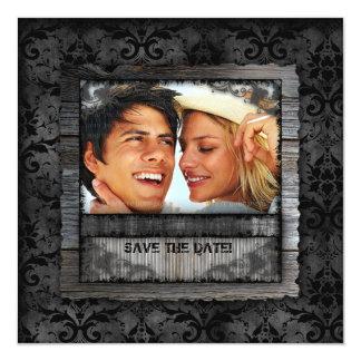 Casar al fiesta de compromiso rústico del damasco invitación 13,3 cm x 13,3cm