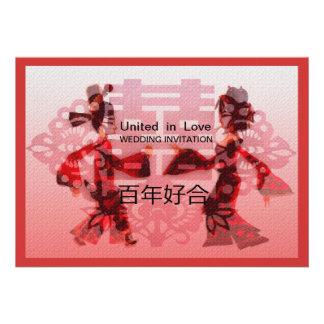 Casar danza la invitación china formal del boda