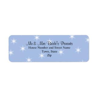 Casar diseño en azul claro con las estrellas blanc etiquetas de remite