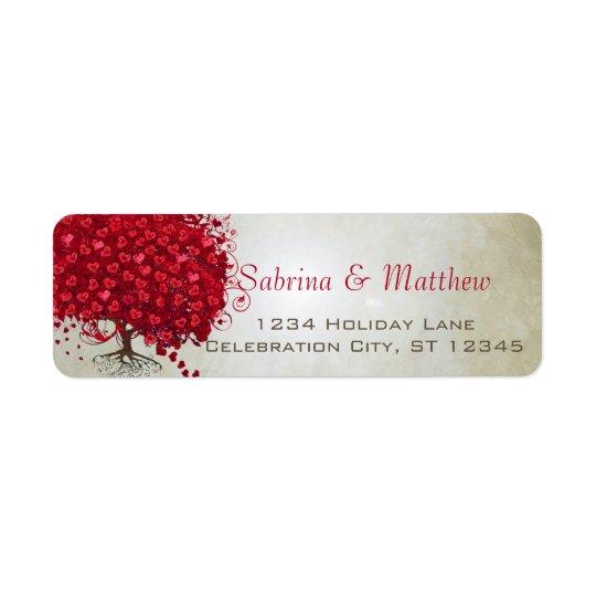 Casar el remite del corazón del árbol rojo de la etiqueta de remitente