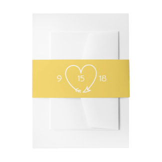 Casar la banda del Belly en gris y amarillo Cintas Para Invitaciones