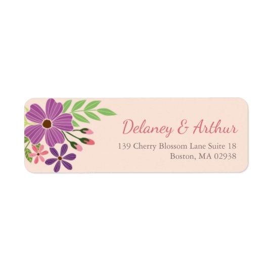 Casar la etiqueta del remite en tema de la flor etiqueta de remite