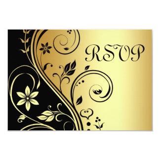 Casar la invitación negra floral del oro de RSVP
