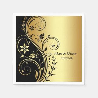 Casar la servilleta floral del oro del negro de la servilleta de papel