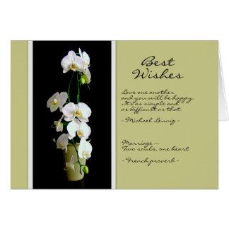 Casar la tarjeta blanca de las orquídeas de