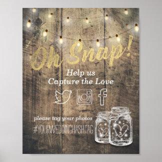 Casar luces de madera rústicas rápidas del tarro póster