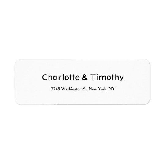 Casar negro creativo minimalista elegante y blanco etiqueta de remitente
