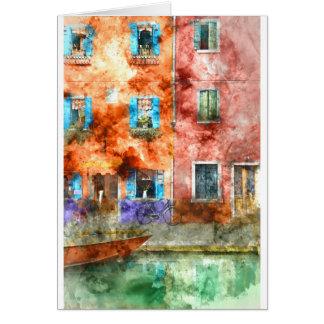 Casas coloridas en la isla de Burano, Venecia Tarjeta