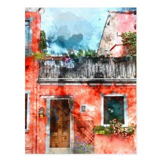Casas coloridas en la isla Venecia Italia de Postal