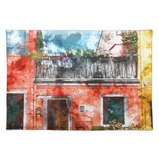 Casas coloridas en la isla Venecia Italia de Salvamanteles