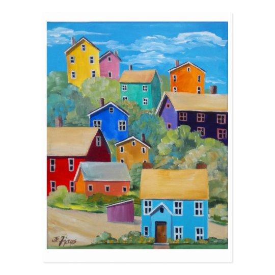 Casas de la ladera del arco iris postal