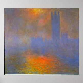 Casas del parlamento de Claude Monet Póster