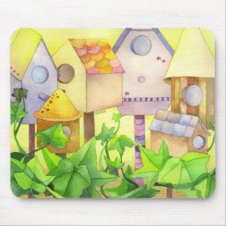 Casas lindas del pájaro alfombrilla de ratón