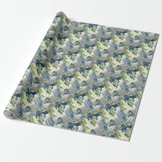 Cascada azul papel de regalo