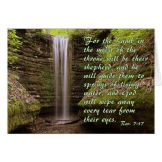 Cascada con verso del 7:17 del Rev. Tarjeta De Felicitación