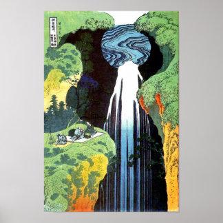 Cascada de Amida, bella arte del japonés de
