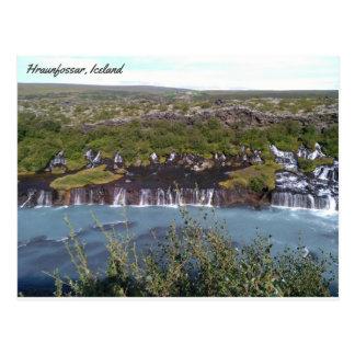 Cascada de Hraunfossar en Islandia Postal