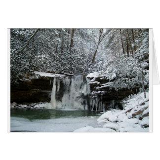 Cascada del invierno Nevado Tarjeta De Felicitación