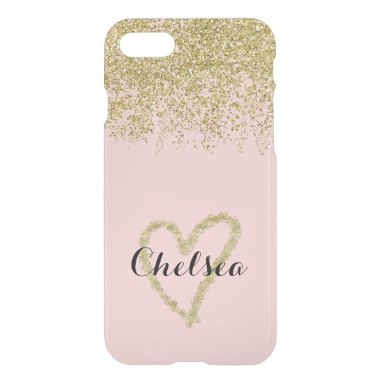 Cascada del purpurina del cuarzo color de rosa y funda para iPhone 7