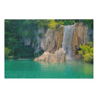 Cascada en el parque nacional de Plitvice en Impresión En Madera