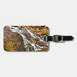 Cascada en el parque nacional magnífico de Teton Etiquetas Para Equipaje