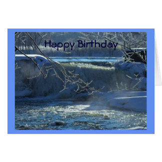 Cascada escarchada del feliz cumpleaños tarjeta