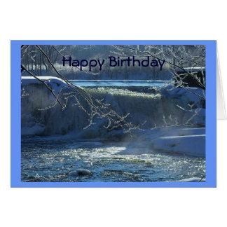 Cascada escarchada del feliz cumpleaños tarjeta de felicitación