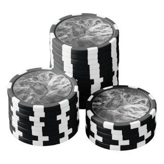 Cascada sangrada congelada blanco y negro de la juego de fichas de póquer