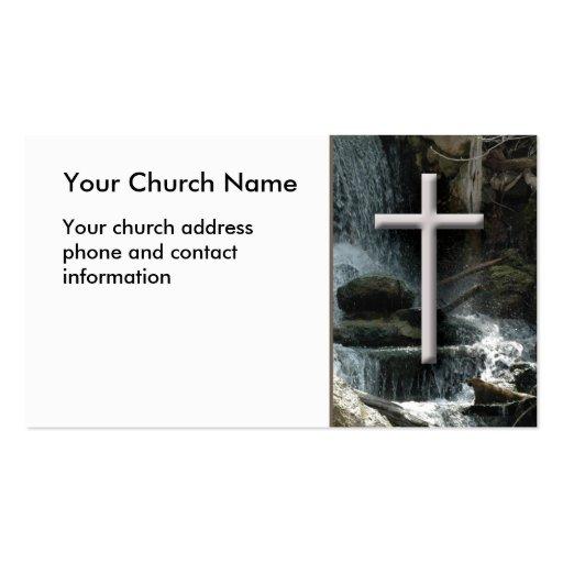 Cascadas con la tarjeta de visita cristiana cruzad