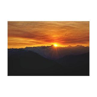 Cascadas del norte de la salida del sol impresión en lienzo