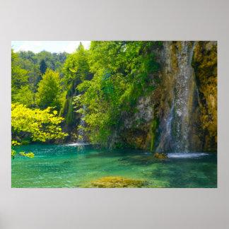 Cascadas en el parque nacional de Plitvice en Póster