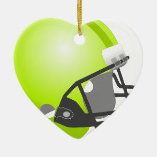Casco del deporte adorno navideño de cerámica en forma de corazón