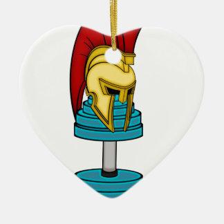 Casco espartano en pesa de gimnasia adorno navideño de cerámica en forma de corazón