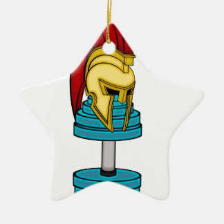 Casco espartano en pesa de gimnasia adorno navideño de cerámica en forma de estrella