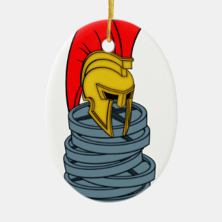 casco espartano en pesos adorno navideño ovalado de cerámica