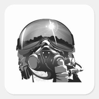 Casco y máscara experimentales de la fuerza aérea pegatina cuadrada
