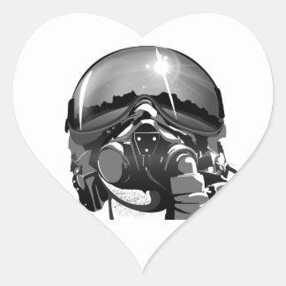 Casco y máscara experimentales de la fuerza aérea pegatina en forma de corazón