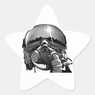 Casco y máscara experimentales de la fuerza aérea pegatina en forma de estrella