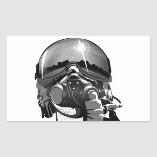 Casco y máscara experimentales de la fuerza aérea pegatina rectangular