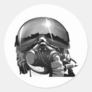 Casco y máscara experimentales de la fuerza aérea pegatina redonda