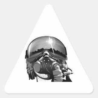 Casco y máscara experimentales de la fuerza aérea pegatina triangular