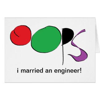 casé a un ingeniero tarjeta de felicitación