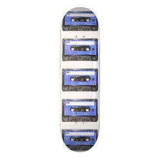 Casete azul y blanco de la etiqueta de Houndstooth Patineta Personalizada