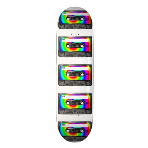 Casete de la etiqueta del remolino del arco iris tablas de patinar