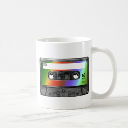 Casete tropical de la etiqueta del arco iris tazas de café