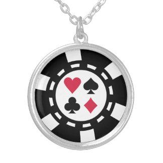 Casino de las fichas de póker collar plateado