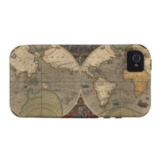 Caso 1595 del iPhone 4 del mapa del mundo del viej iPhone 4/4S Carcasas