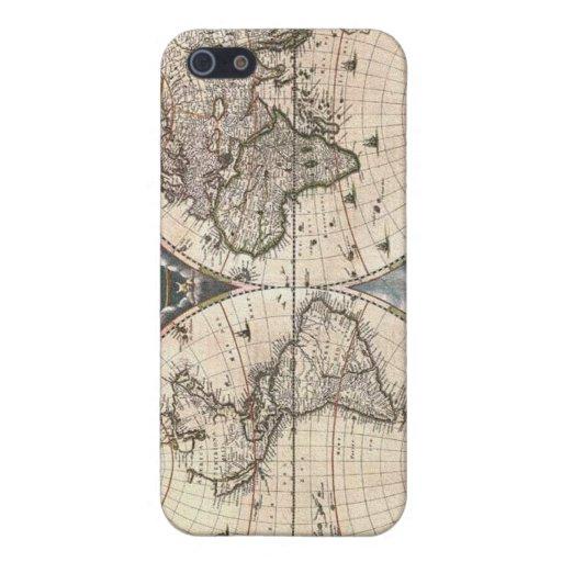 Caso 1664 del iPhone 4 de los mapas del mundo de B iPhone 5 Cárcasa